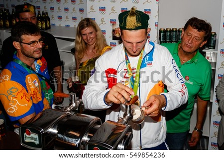 Rio de Janeiro, Brazil. August 11, 2016. Lukas KRPALEK (CZE) celebration of his gold medal at a Czech House, during the 2016 Summer Olympic Games in Rio De Janeiro.