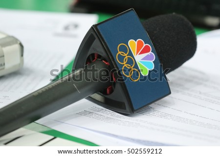 RIO DE JANEIRO, BRAZIL - AUGUST 10, 2016: NBC microphone ready for interview during Rio 2016 Olympic Games. NBC spent about $1.2 billion for the rights to air this summer's Olympics