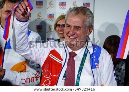 Rio de Janeiro, Brazil. August 4, 2016. President Milos Zeman visits the Czech House during Olympic Games 2016.