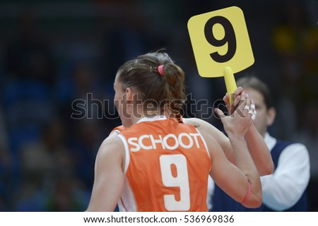 Rio de Janeiro, Brazil - august 06, 2016:  volleyball game China (CHN) vs Nederland (NED) in maracanazinho in the Olympics Rio 2016 by the group phase