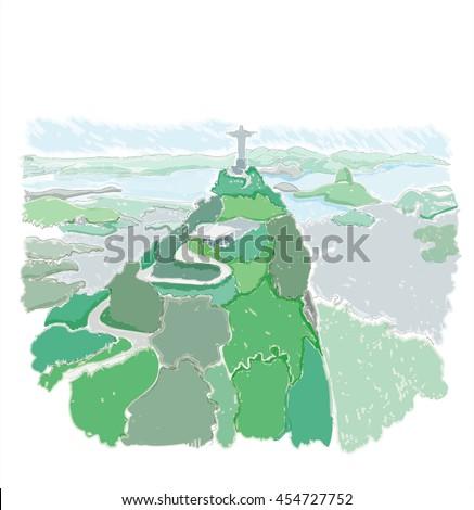 Rio de Janeiro, Brazil Christ the Redeemer statue. Mountain, travel, wonder of the world, freehand drawing - stock photo