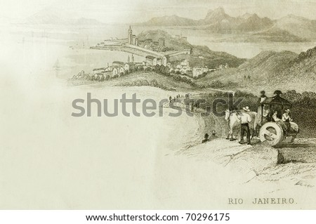 RIO DE JANEIRO, BRAZIL- CIRCA 1828-A scene overlooking Rio De Janeiro. This image is of an antique miniature drawing from the Illustrated Atlas of the World published circa 1828 - stock photo