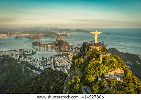 RIO DE JANEIRO, BRAZIL - CIRCA FEBRUARY 2016: Aerial view of Christ The Reedemer, Botafogo Bay and Sugar Loaf Mountain. - stock photo