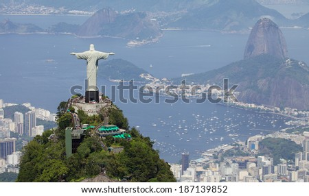 RIO DE JANEIRO, BRAZIL - DECEMBER 28, 2013: Aerial view of Christ Redeemer and Corcovado Mountain