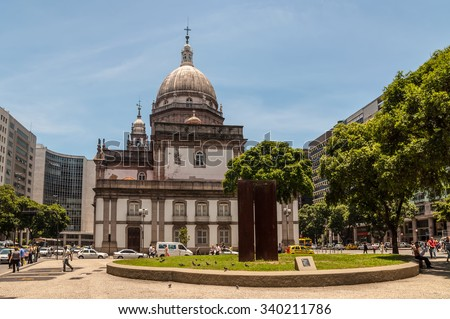RIO DE JANEIRO, BRAZIL - DECEMBER 21, 2012: The Candelaria Church (Igreja de Nossa Senhora da Candelaria) is an important historical Roman Catholic church in the city of Rio de Janeiro, Brazil. - stock photo