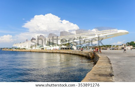 RIO DE JANEIRO, BRAZIL - DECEMBER 21, 2015: The Museum of Tomorrow in front of the new Maua Square was inagurated on December 19th, 2015. Rio de janeiro is hosting the olympics in the summer of 2016. - stock photo