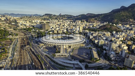 RIO DE JANEIRO, BRAZIL - FEBRUARY  2016: Aerial photo of Maracana Stadium with panorama of Rio De Janeiro. Opening and closing of 2016 Olympic Games will be held at Maracana Stadium. - stock photo