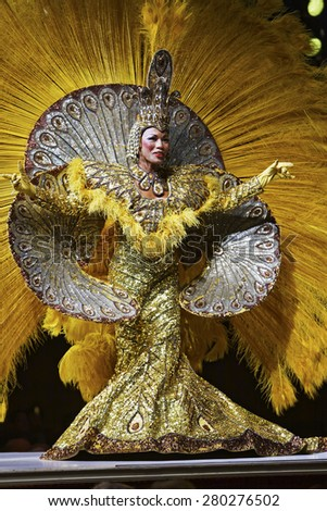 Rio de Janeiro, Brazil February 13, 2015 Beautiful dancers performing Samba Show at the Leblon Plataforma Uno Dinner Club - stock photo