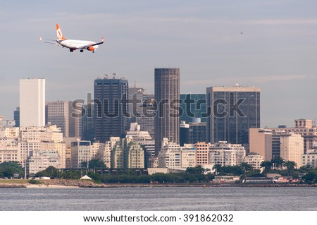 RIO DE JANEIRO, BRAZIL - FEBRUARY 26, 2016: GOL Airlines aircraft preparing for landing in Santos Dumont airport. - stock photo