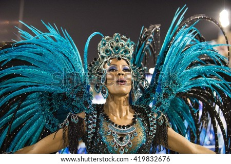 RIO DE JANEIRO, Brazil - february 08, 2016: Samba school parade Unidos da Tijuca during the 2016 carnival in Rio de Janeiro, the Sambodromo. - stock photo