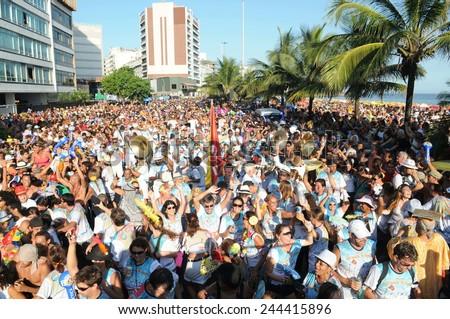 Rio de Janeiro-Brazil February 20, 2014, street carnival in Rio de Janeiro, Banda de Ipanema (traditional caranava block of Rio de Janeiro) parading in the south of the city. - stock photo
