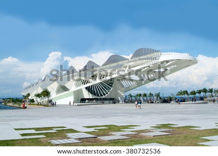 Rio de Janeiro, Brazil, February 18, 2016 - Tomorrow's Museum, designed by architect Santiago Calatrava, was inaugurated by Brazilian President as part of a program for the Rio 2016 Olympic Games - stock photo
