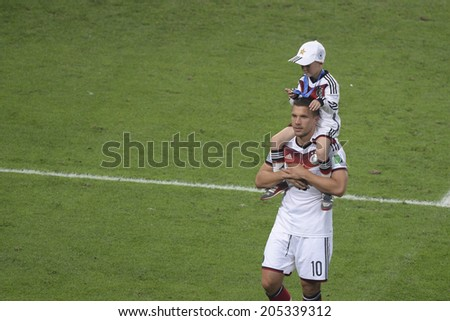 RIO DE JANEIRO, BRAZIL - July 13, 2014: Germany players celebrates after win the match during the 2014 World Cup Final game between Argentina and Germany at Maracana Stadium - stock photo