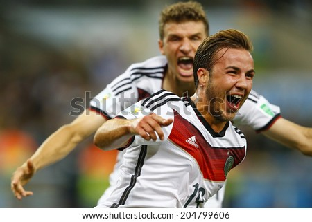 RIO DE JANEIRO, BRAZIL - July 13, 2014: Gotze of Germany celebrates his score during the 2014 World Cup Final game between Germany and Argentina at Maracana Stadium. NO USE IN BRAZIL. - stock photo