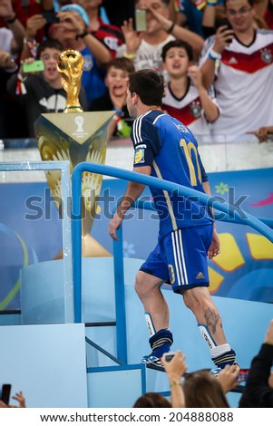 RIO DE JANEIRO, BRAZIL - July 13, 2014: Messi of Argentina wins the Golden Ball for the Best Player of the 2014 FIFA World Cup. NO USE IN BRAZIL.