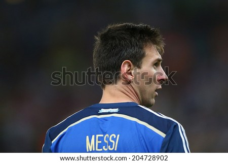 RIO DE JANEIRO, BRAZIL - July 13, 2014: Messi upset after Germany defeated Argentina in the 2014 World Cup Final at Maracana Stadium. NO USE IN BRAZIL.