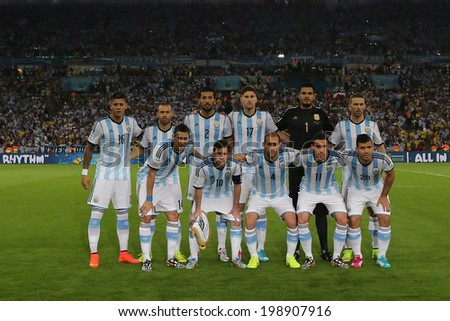 RIO DE JANEIRO, BRAZIL - June 15, 2014: Argentina team posing for a photo during the FIFA 2014 World Cup. Argentina is facing Bosnia in the Group F at Maracana Stadium. No Use in Brazil. - stock photo