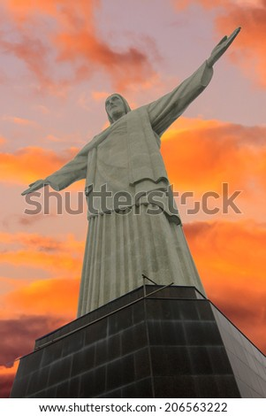 RIO DE JANEIRO, BRAZIL - JUNE 16: Christ the Redeemer, located on top of Corcovado, Rio's highest mountain at approximately 2,330 feet above sea level, and will be a popular destination in 2014. - stock photo