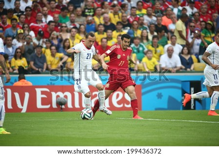 RIO DE JANEIRO, BRAZIL - June 18, 2014: DIAZ (Chile) and RODRIGUEZ (SPAIN) compete for the ball at 2014 World Cup Group B game between Spain and Chile at Maracana Stadium. No Use in Brazil.