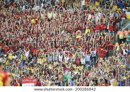 RIO DE JANEIRO, BRAZIL - June 22, 2014: Fans celebrating during the World Cup Group H game between Belgium and Russia at Maracana Stadium.