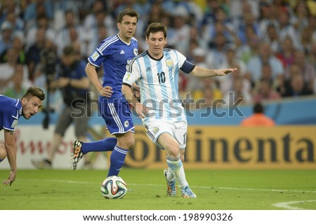 RIO DE JANEIRO, BRAZIL - June 15, 2014: Lionel MESSI of Argentina  kicks the ball during the 2014 World Cup Group F game between Argentina and Bosnia at Maracana Stadium.