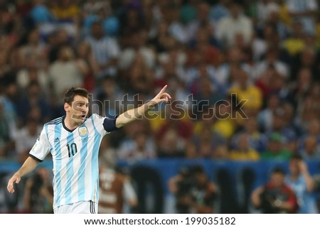 RIO DE JANEIRO, BRAZIL - June 15, 2014: Messi of Argentina during the World Cup Group F game between Argentina and Bosnia at Maracana Stadium. No Use in Brazil.