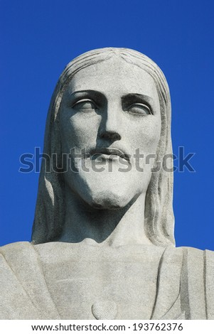 RIO DE JANEIRO, BRAZIL - JUNE 18, 2010: portrait corcovado christ redeemer - stock photo