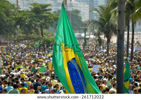 RIO DE JANEIRO, BRAZIL - March 15, 2015, Brazilians take the street of Rio de Janeiro to protest against federal government corruption. Protesters call for the impeachment of President Dilma Rousseff - stock photo