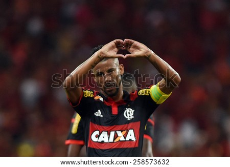 RIO DE JANEIRO, BRAZIL-March 4, 2015: Football game between Flamengo and Naciona the Uuguay at the Maracana stadium in farewell player Leo Moura Flamengo