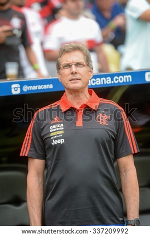 RIO DE JANEIRO, BRAZIL - November 08, 2015: Oswaldo de Oliveira Coach of Flamengo during national anthem in the match between Flamengo vs Goias in the Brazilian championship at Maracana Stadium