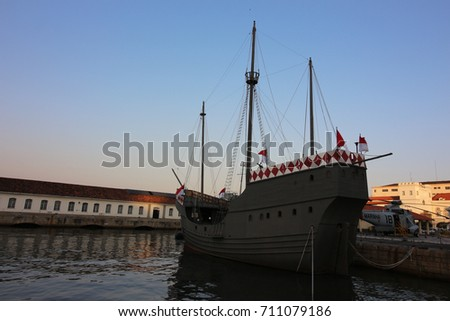Rio de Janeiro, Brazil, September 6, 2017: Nau Capitania, replica of boat used by Pedro Alvares Cabral in the discovery of Brazil, on display in cultural space of the Brazilian Navy, in Guanabara Bay