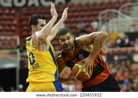 RIO DE JANEIRO, BRAZIL - September 26, 2014: Olivinha and Guy PNINI  during Intercontinental cup 2014, first matcht of final game, basketball. Flamengo (BRA) is facing Maccabi Tel-Aviv at HSBC Arena.