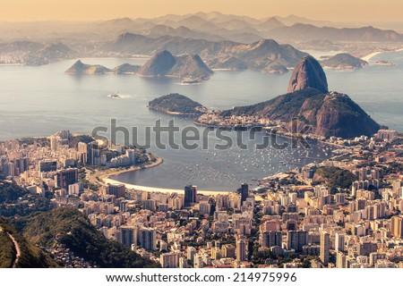 Rio de Janeiro, Brazil. Suggar Loaf and Botafogo beach viewed from Corcovado  - stock photo