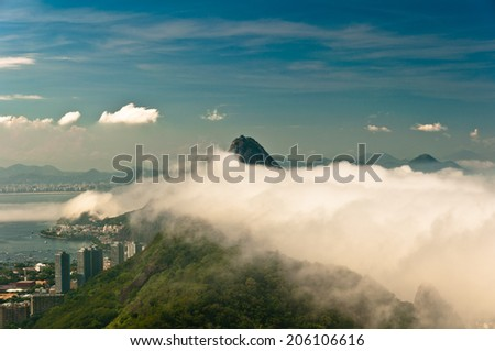 Rio de Janeiro City South Zone Scene Under Low Clouds - stock photo