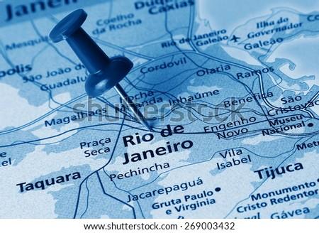 Rio De Janeiro destination in the map - stock photo