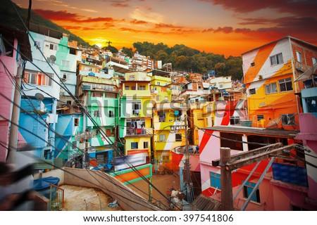 Rio de Janeiro downtown and favela.  Brazil - stock photo