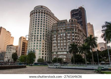 Rio de Janeiro Downtown Buildings by Sunset - stock photo