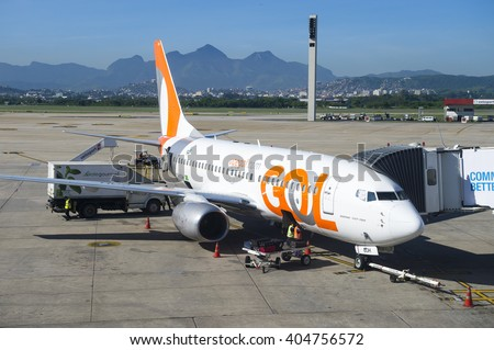 RIO DE JANEIRO - FEBRUARY 1, 2016: A jet owned by Gol, the Sao Paulo-based budget airline, prepares for a flight at Galeao International Airport (GIG).  - stock photo