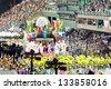 RIO DE JANEIRO - FEBRUARY 10: Show with decorations on carnival Sambodromo in Rio de Janeiro February 10, 2013, Brazil. The Rio Carnival is biggest carnival in world. - stock photo