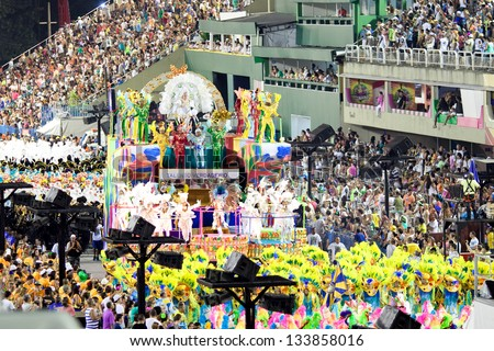 RIO DE JANEIRO - FEBRUARY 10: Show with decorations on carnival Sambodromo in Rio de Janeiro February 10, 2013, Brazil. The Rio Carnival is biggest carnival in world. - stock photo