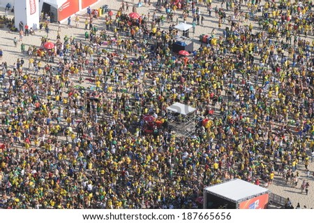 RIO DE JANEIRO, JUNE 21 - FANS OF BRAZIL DURING THE WORLD CUP SOCCER 2010 FIFA FAN FEST AT THE Copacabana