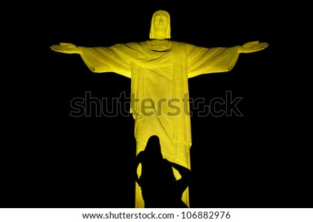 RIO DE JANEIRO - MAY 11: Christ the Redeemer, located on top of Corcovado, Rio's highest mountain at approximately 2,330 feet above sea level, is shown may 11, 2012 in Rio de Janeiro, Brazil. - stock photo