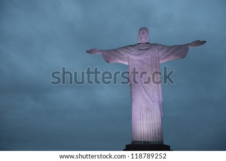 RIO DE JANEIRO - NOVEMBER 14: Christ the Redeemer, located on top of Corcovado, Rio's highest mountain at approximately 2,330 feet above sea level, is shown november 14, 2012 in Rio de Janeiro, Brazil - stock photo