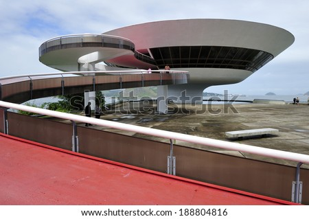 Rio de Janeiro, RJ, Brazil-April 9, 2010: Oscar Niemeyer's Niteroi Contemporary Art Museum, one of the masterpiece of modern architecture, built in 1996 - stock photo