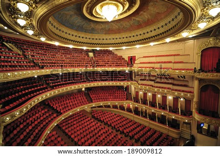 Rio de Janeiro, RJ, Brazil-December 7, 2012: Municipal Theater of Rio de Janeiro, built in early 20th century, considered to be most beautiful and important theater in Brazil