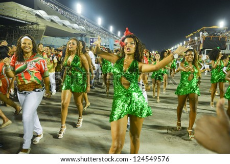 RIO DE JANEIRO, RJ /BRAZIL - JANUARY 13, 2013: School of samba Grande Rio, during essay technician in the Sambodromo, that it is prepared for the 2013 parade jan 13, 2013 in Rio de Janeiro - stock photo