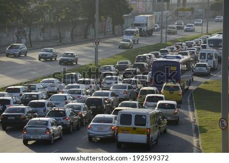 RIO DE JANEIRO, RJ /BRAZIL - may 13:  Traffic on a boulevard near Maracana Stadium on may 13, 2014 in Rio de Janeiro - stock photo