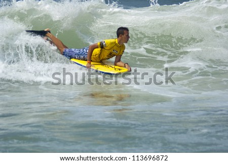 RIO DE JANEIRO - SEPT 11: Jose Wilame from Brazil  performs during the event 2012 Rio Bodyboard International, September 11, 2012 in Rio de Janeiro, Brazil