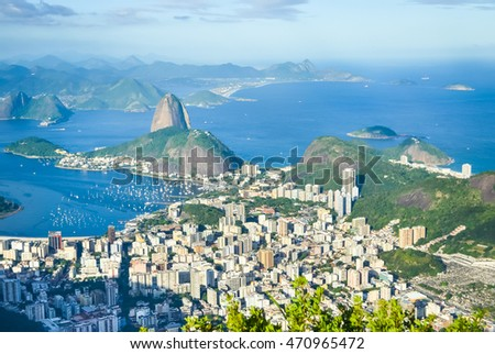 Rio de Janeiro view from Corcovado hill on sunset in Brazil with soft focus