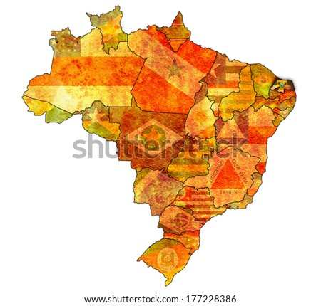 rio grande do norte on administration map of brazil with flags - stock photo